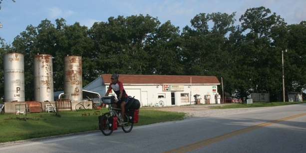 Riding through a small town in Kansas.