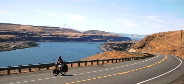 Riding the Columbia River Gorge.