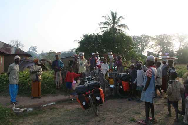 Our daily ritual: fetching water at the local pump.