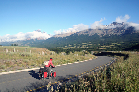 Riding the Carreterra Austral near Coyhaique, Chile.