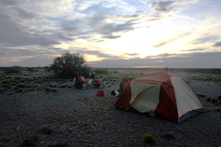 Wild camping on the  wide open pampa.