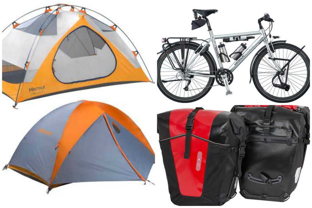 bikes panniers and tent for bicycle touring