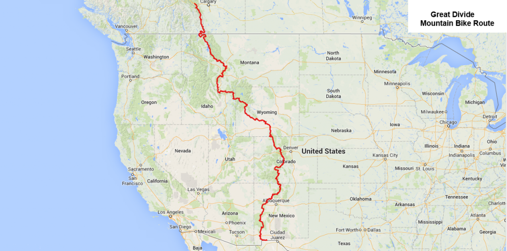 map Great Divide Mountain Bike Route (GDMBR)