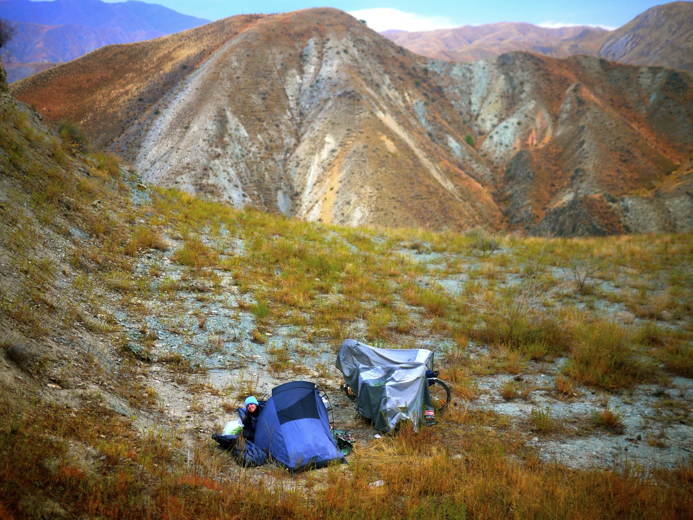 wicked camping spot just off the road at the top of a mountain