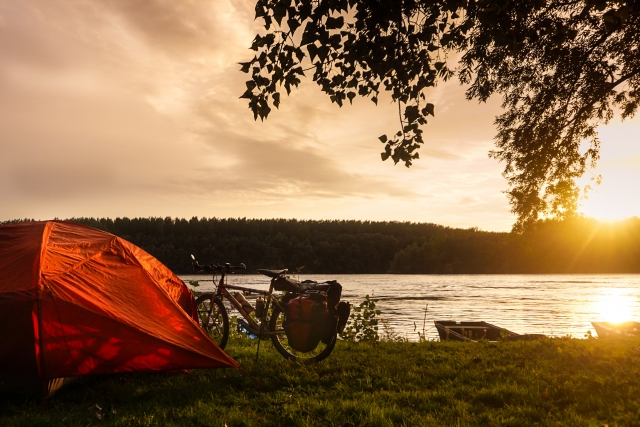 Camping along the banks of the Danube.