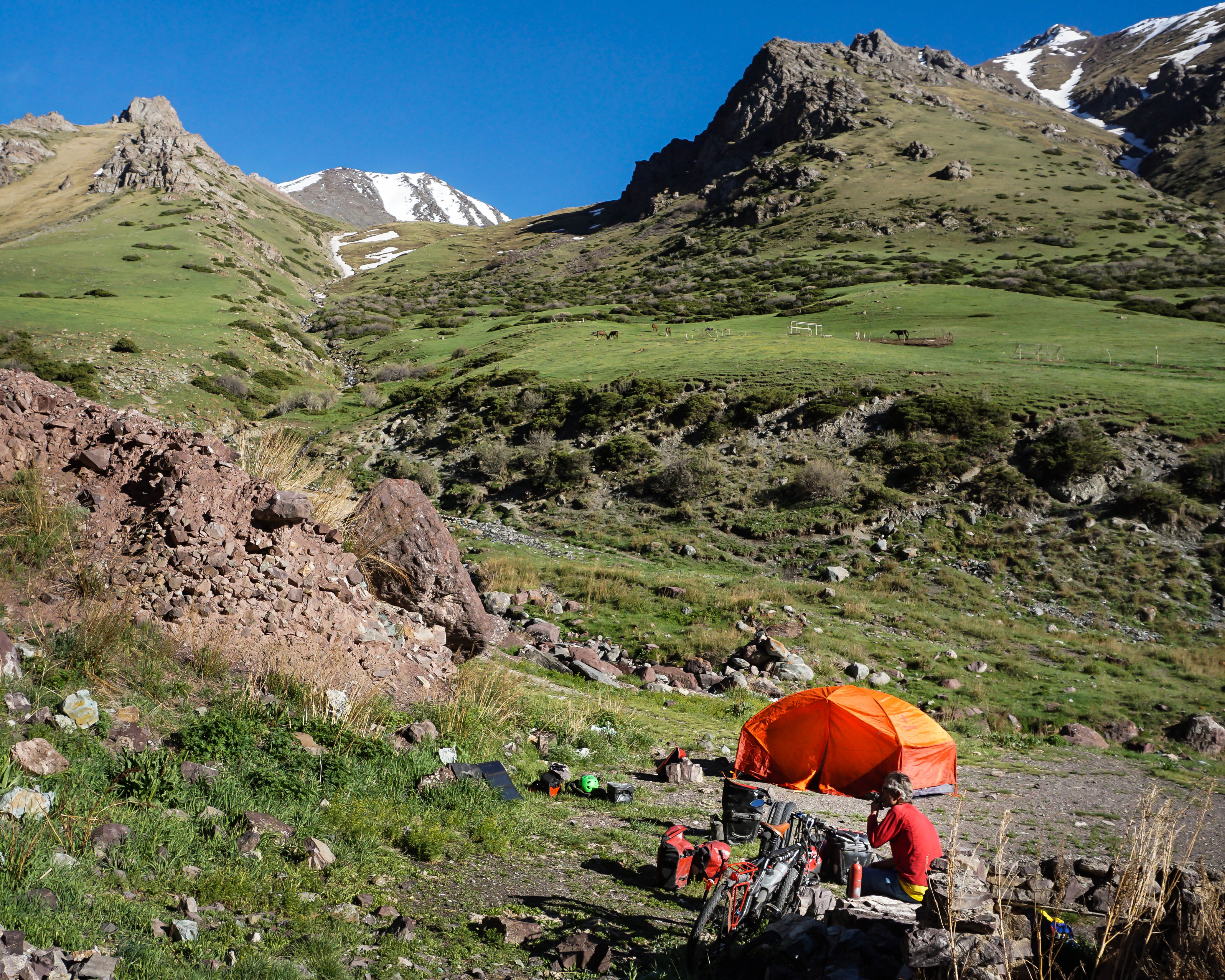 camping in the Pamir Mountains, Kyrgyzstan
