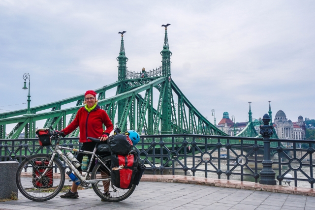 Budapest cyclist and bridge