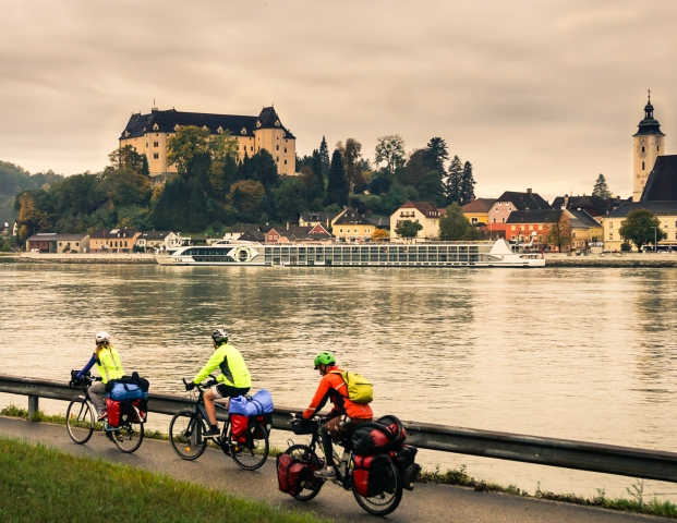 Cycling along the Danube in Asutria.