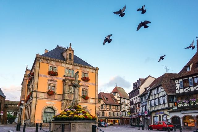 Obernai France market square and Town Hall