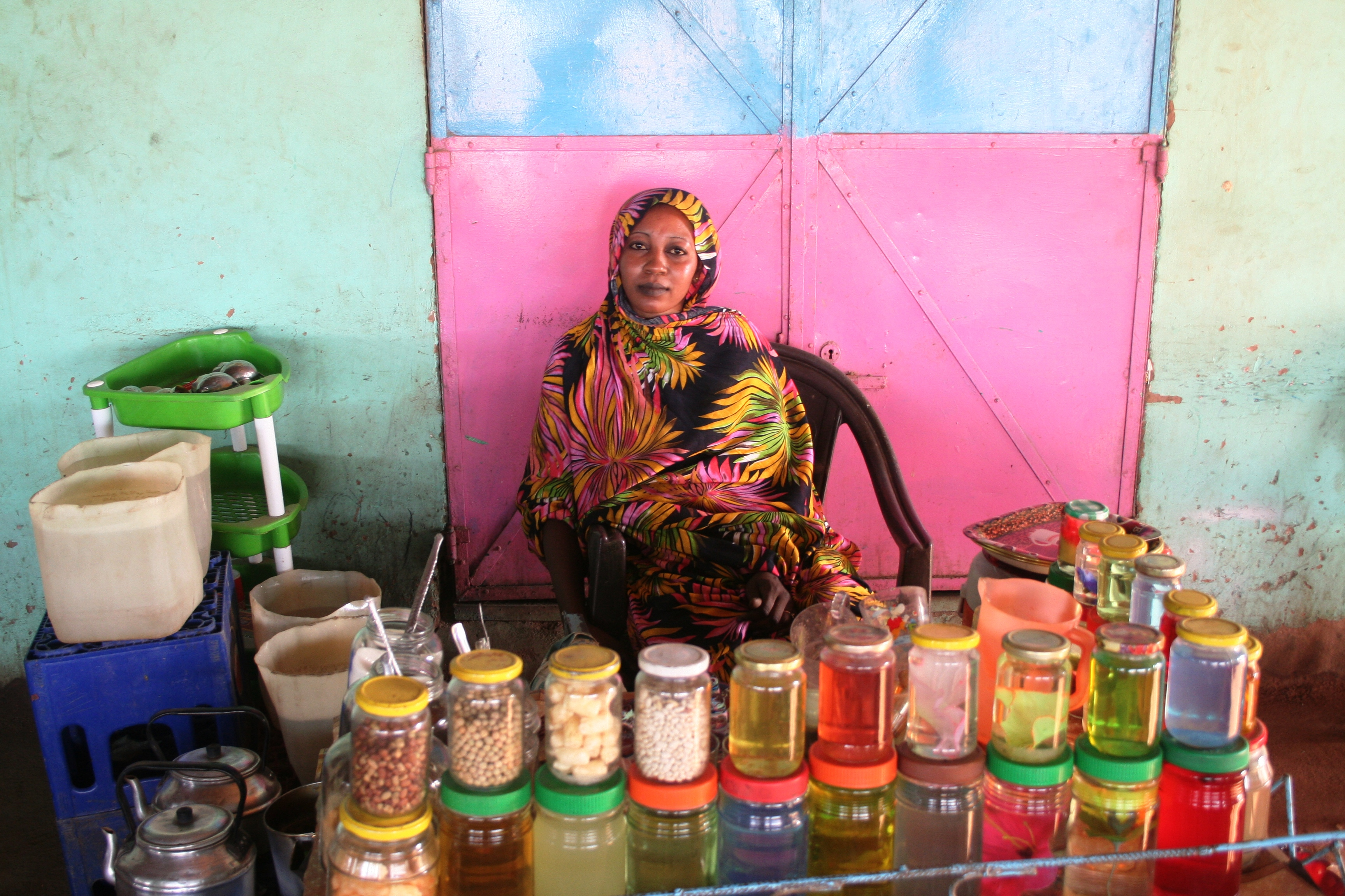 Woman shopkeeper in Sudan.