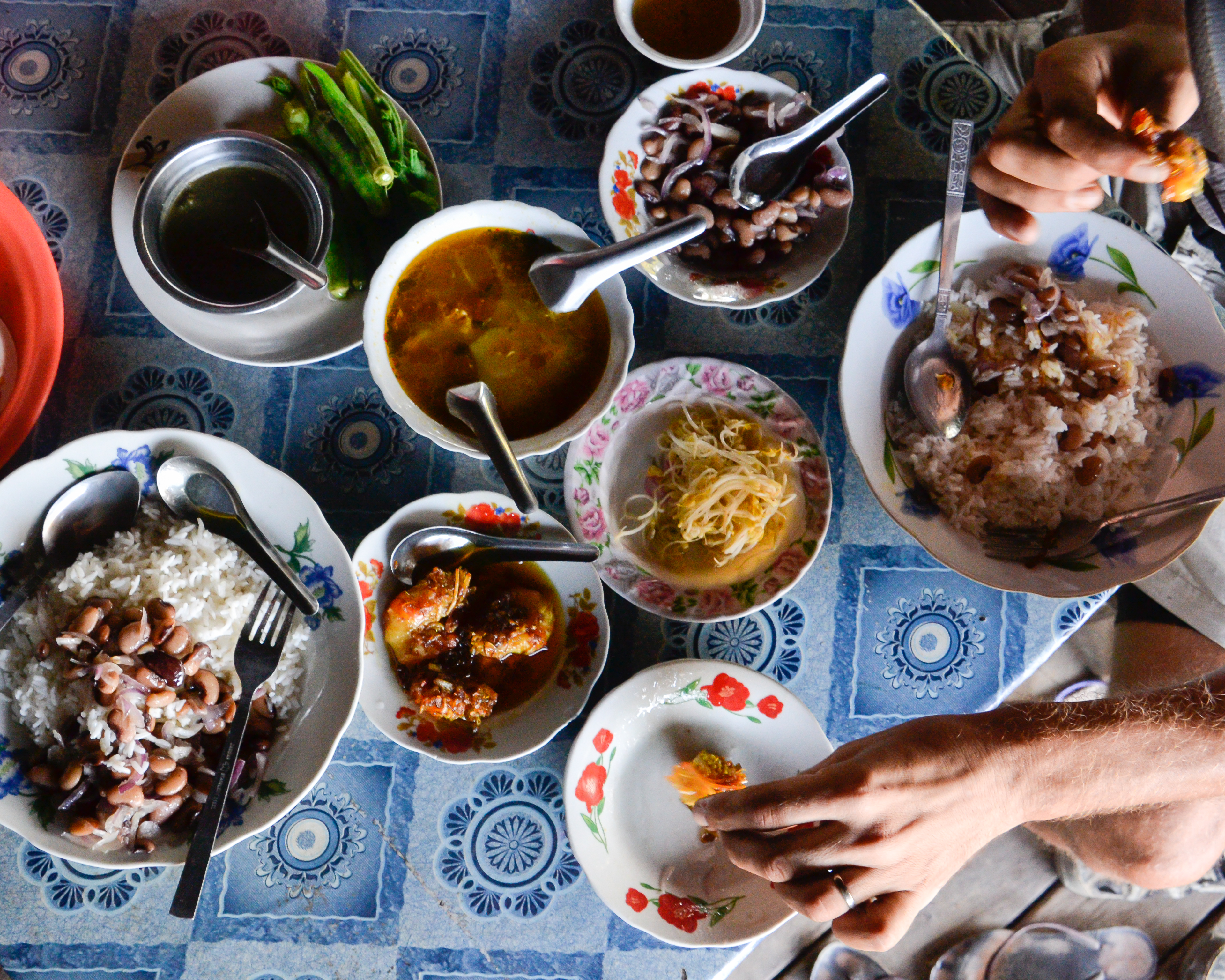 Traditional meal in Myanmar