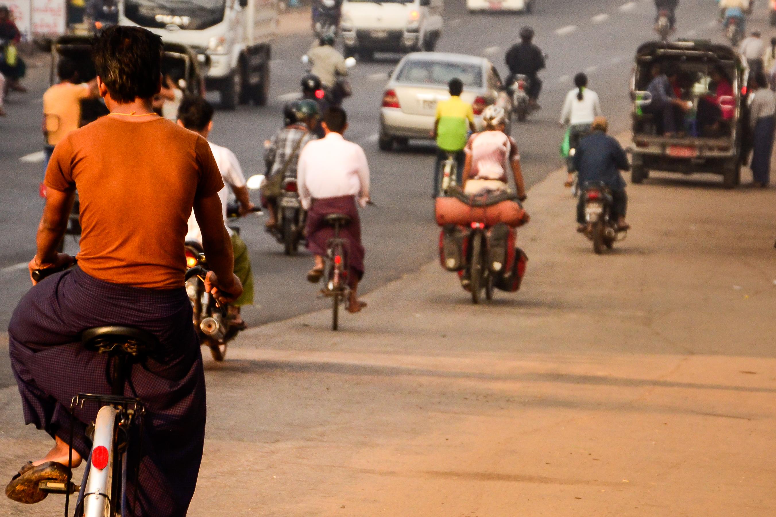 Busy highway in Myanmar