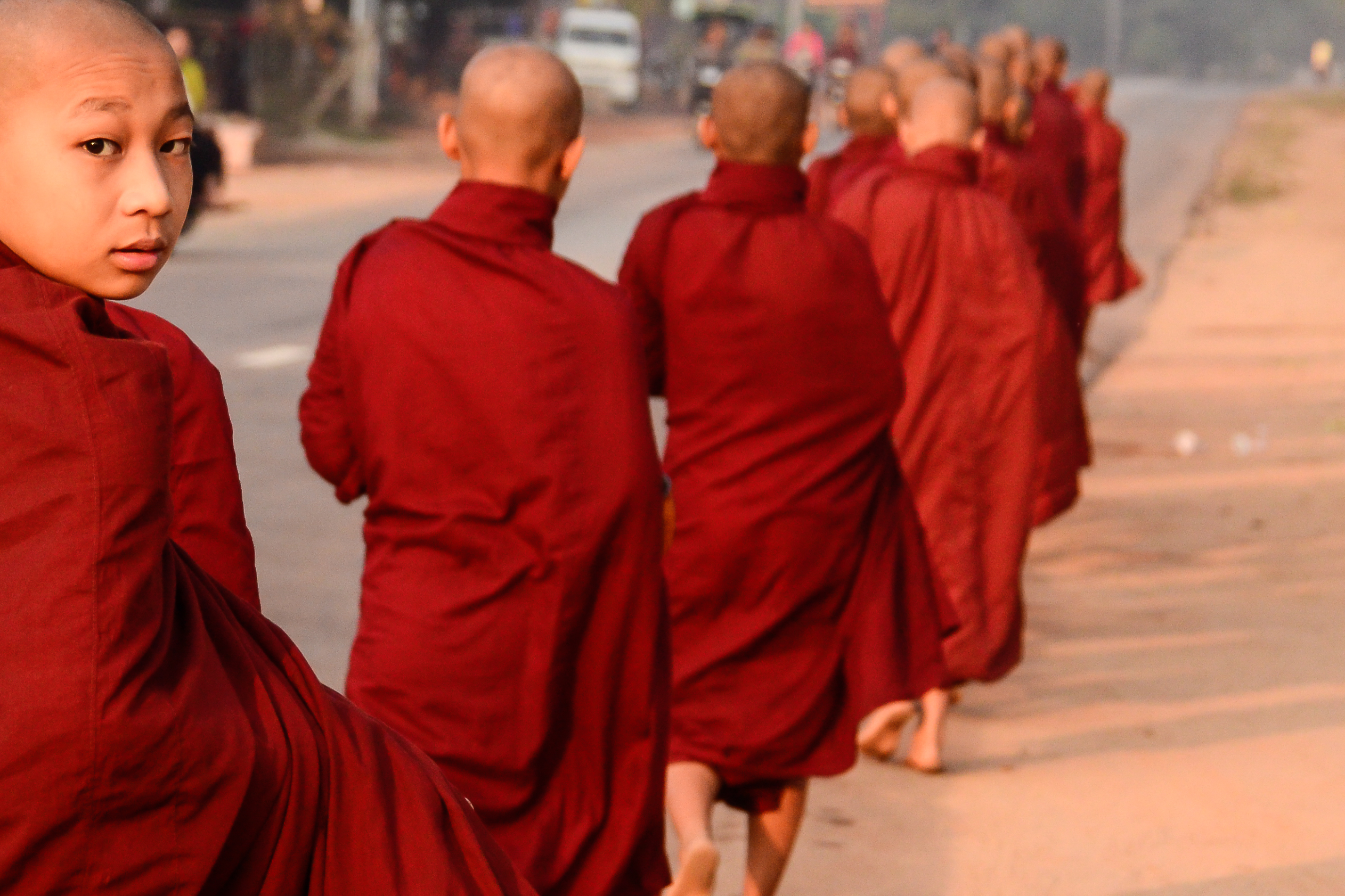 monks in saffron robes in Myanmar
