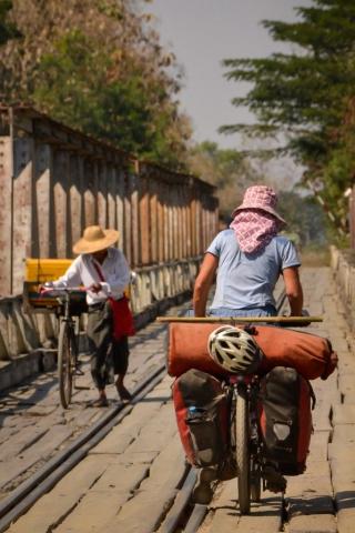 rickety bridge in Myanmar
