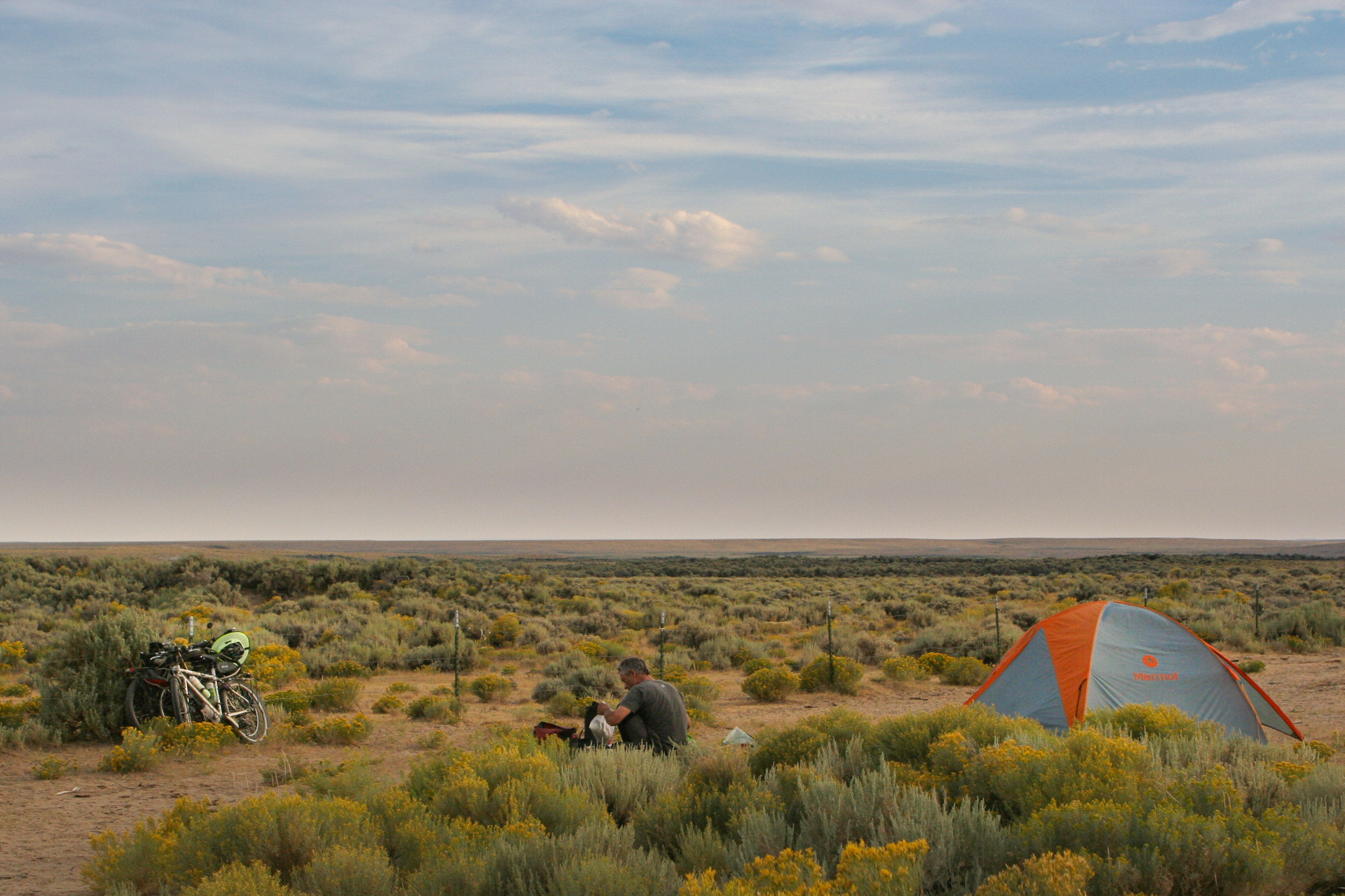 bicycle touring and camping in Wyoming